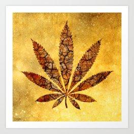 Vintage Cannabis Leaf Art Print