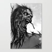 zombie Canvas Prints featuring Zombie by Tara Grady