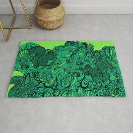 Squirrels Zentangle Drawing Green Rug