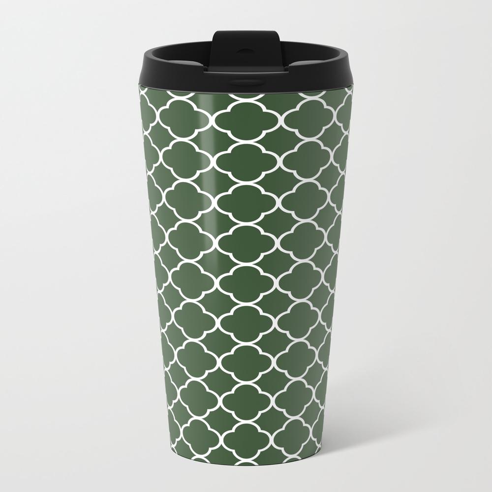 Green, Pine: Quatrefoil Clover Pattern Travel Cup TRM8945313