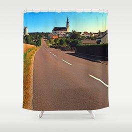 Village road in summertime Shower Curtain