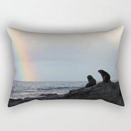 Peaceful Seals & Rainbow, Kaikoura Rectangular Pillow