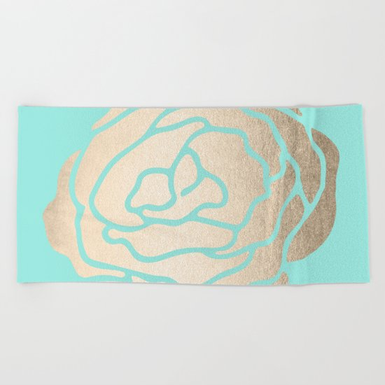 Rose in White Gold Sands on Tropical Sea Blue Beach Towel