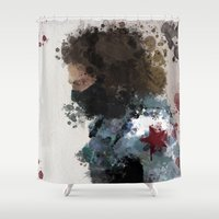 winter soldier Shower Curtains featuring Winter Soldier Water Colour by Scofield Designs