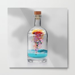 Electric Jellyfish Worlds in  a Bottle Metal Print