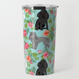 Toy Poodle dog breed pet portraits hawaiian floral flowers dog pattern custom dog lover art Travel Mug