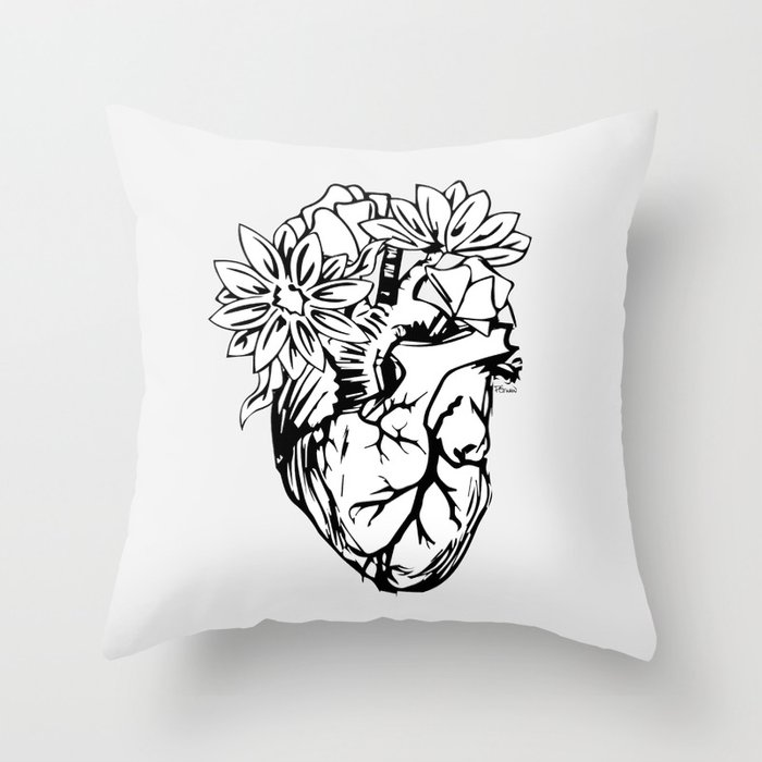 Floral Mexican Heart - black and white Throw Pillow