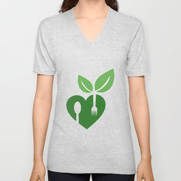Love for vegan food with organic leaves and spoon forks Unisex V-Neck