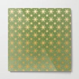 Green and Metallic Gold Christmas Snowflakes Metal Print