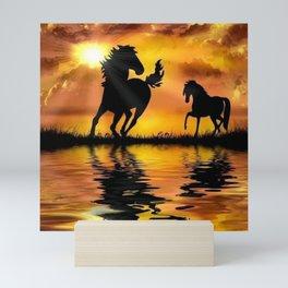 Horse Sunset  Mini Art Print
