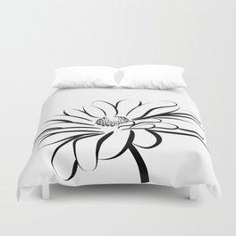 Gerbera Daisy Black & White Print 2 Duvet Cover