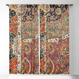 Persian Medallion Rug II // 16th Century Distressed Red Green Blue Flowery Colorful Ornate Pattern Blackout Curtain