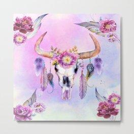 Bull Skull Rose Metal Print