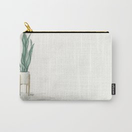 Potted Plant in White Space Carry-All Pouch