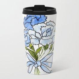 Blue Carnations Metal Travel Mug
