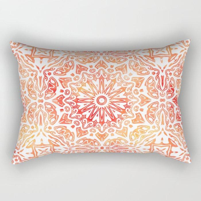 Oriental Watercolor ornament pattern yellow orange Rectangular Pillow