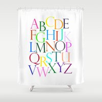 alphabet Shower Curtains featuring Alphabet by Beatrice K