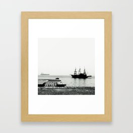 ships on a calm sea black and white Framed Art Print