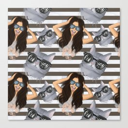 Girl With Glasses Friyay And Cat With Glasses Friyay Pattern Canvas Print