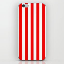 Large Berry Red and White Rustic Vertical Beach Stripes iPhone Skin