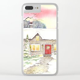 Snowy Cottage Clear iPhone Case