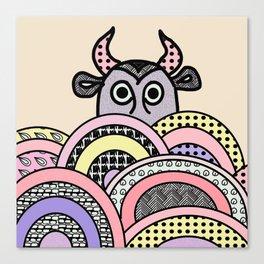 pink cow . illustration Canvas Print