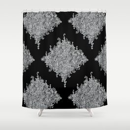 White and Black Floral Lace Shower Curtain