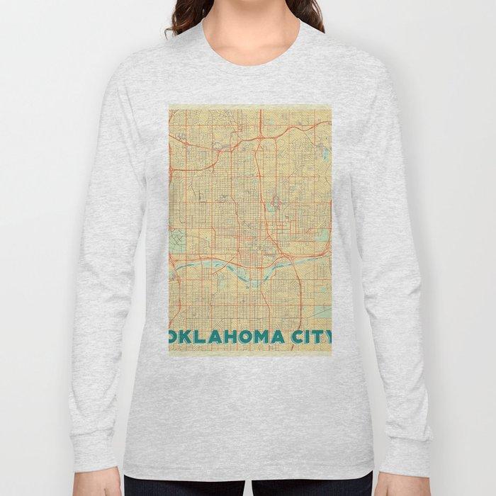 Oklahoma City Map Retro Long Sleeve T-shirt