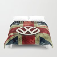vw Duvet Covers featuring VW Retro Union Jack by Alice Gosling