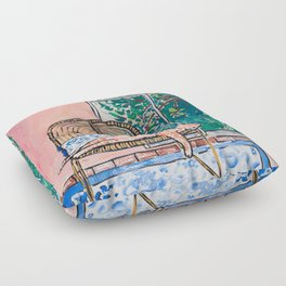Napping Ginger Cat in Pink Jungle Garden Room Floor Pillow