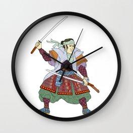Samurai Warrior Fighting Stance Mono Line Wall Clock