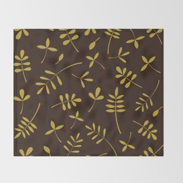 Gold Leaves Design on Brown Throw Blanket