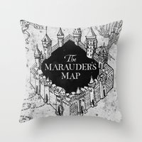 marauders Throw Pillows featuring Marauders Map by bimorecreative