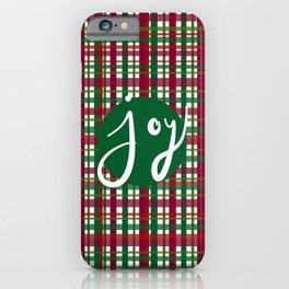 Holiday Plaid Joy - Green iPhone Case