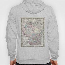 Vintage Map of Wisconsin (1855) Hoody