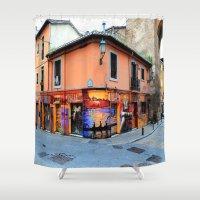 grafitti Shower Curtains featuring Grafitti on Elvira Street by Simon Ede Photography