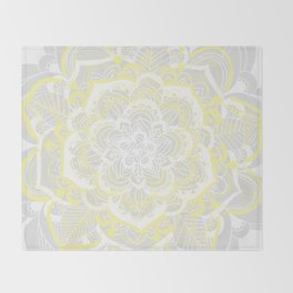 Woven Fantasy - Yellow, Grey & White Mandala Throw Blanket