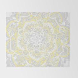 Woven Fantasy - Yellow, Grey & White Mandala Throw Blanket