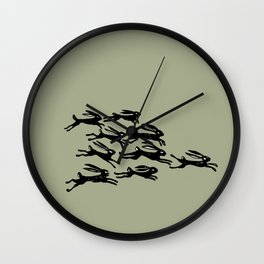 rabbits in the race Wall Clock