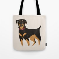 rottweiler Tote Bags featuring Rottweiler by Reimena Ashel Yee