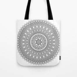 Black and White Feather Mandala Boho Hippie Tote Bag