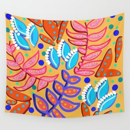 Whimsical Leaves Pattern Wall Tapestry
