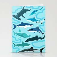 sharks Stationery Cards featuring Sharks by Raffles Bizarre