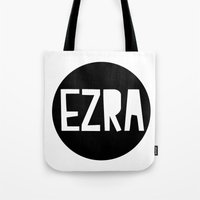 ezra koenig Tote Bags featuring EZRA cushion by Amy Lovesowls