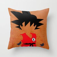 dragonball Throw Pillows featuring Goku by JHTY