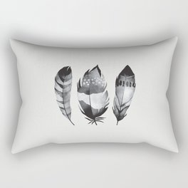 Monochrome bohemian feather set black-white boho watercolor animal illustration boho home wall decor Rectangular Pillow