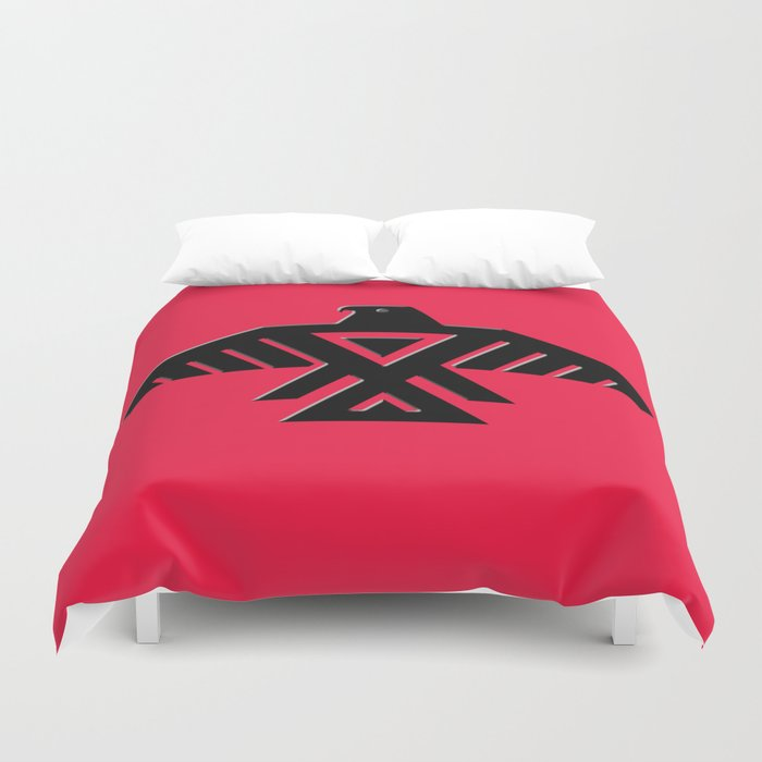 Thunderbird Emblem Of The Anishinaabe People Black On Red Duvet Cover By Brucestanfield Society6