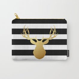 Deer head silhouette - Gold foil black and white stripe design Carry-All Pouch