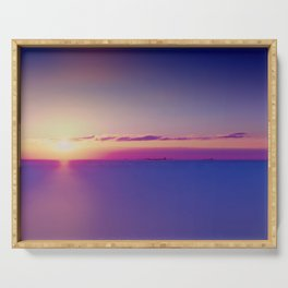 Sunset on the Atlantic Ocean Serving Tray