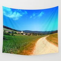 hiking Wall Tapestries featuring Another lonely hiking trail by Patrick Jobst